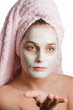 Beautiful girl in rejuvenating mask Royalty Free Stock Photos