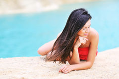 Beautiful girl relaxing on a beach Royalty Free Stock Photography