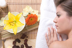 Beautiful girl relaxing on massage table Royalty Free Stock Images