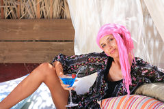 Beautiful girl relaxing outdoor Royalty Free Stock Images