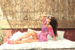 Beautiful girl relaxing outdoor Royalty Free Stock Photos