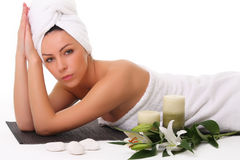 Beautiful girl relaxing in spa Stock Photos
