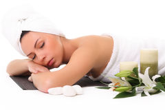Beautiful girl relaxing in spa Stock Photography