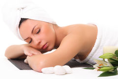 Beautiful girl relaxing in spa Royalty Free Stock Photos