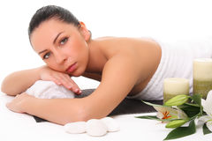 Beautiful girl relaxing in spa Royalty Free Stock Image