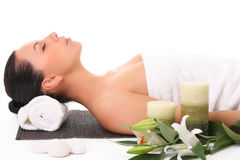 Beautiful girl relaxing in spa Stock Images