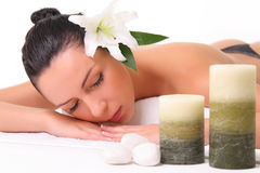 Beautiful girl relaxing in spa Stock Photo