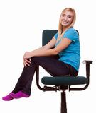 Beautiful girl relaxing on wheel chair Stock Images