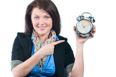 The beautiful girl reminds for remained time Royalty Free Stock Photos