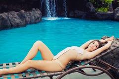Beautiful girl at resort Stock Photography