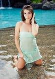Beautiful girl at resort Stock Photos
