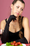 Beautiful girl in the restaurant Royalty Free Stock Images