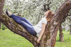Beautiful girl resting in a park lying on the tree. Girl resting in a park lying on the tree Stock Image