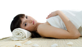 Beautiful girl resting in the spa Royalty Free Stock Photos