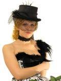 Beautiful girl in retro decollete dress and veil Stock Photo