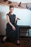 Beautiful girl in retro dress Royalty Free Stock Photos