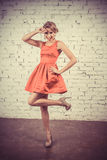 Beautiful girl in retro filter stock images