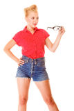 Beautiful girl retro hairstyle holds glasses Stock Photos