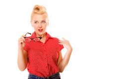 Beautiful girl retro hairstyle holds glasses isolated Stock Photos