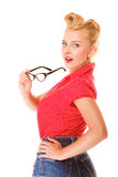 Beautiful girl retro hairstyle holds glasses isolated Royalty Free Stock Photo
