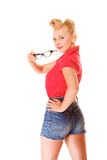 Beautiful girl retro hairstyle holds glasses isolated Stock Photo
