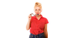 Beautiful girl retro hairstyle holds glasses isolated Royalty Free Stock Image
