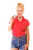 Beautiful girl retro hairstyle holds glasses isolated Royalty Free Stock Photography