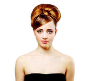 Beautiful girl with retro hairstyle on white Royalty Free Stock Photos