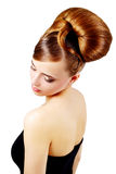Beautiful girl with retro hairstyle on white Royalty Free Stock Images