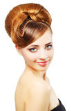 Beautiful girl with retro hairstyle on white Stock Image