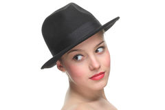 Beautiful girl with a retro hat Stock Photography