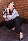 Beautiful girl in retro style stock photos