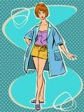 Beautiful girl in retro summer pajamas Royalty Free Stock Images