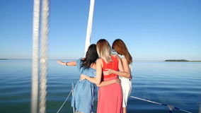Beautiful girl ride on a yacht - party and bachelorette party.  stock footage