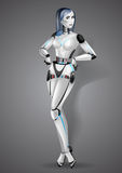 Beautiful girl robot android on gray background.  Royalty Free Stock Image