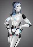 Beautiful girl robot android on gray background Stock Photos