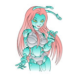 Beautiful girl robot android Stock Image
