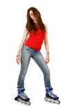The beautiful girl on roller skates Royalty Free Stock Image