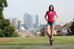 Beautiful girl on roller skates in London England Royalty Free Stock Photos