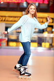 Beautiful girl on the rollerdrome Stock Photo