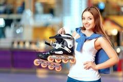 Beautiful girl on the rollerdrome Stock Photo