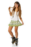 The beautiful girl in rollerskates Stock Photos