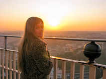 Beautiful girl in Rome at sunset Royalty Free Stock Photography