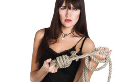 The beautiful girl and rope Stock Photography