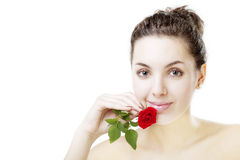 Beautiful girl with a rose. Image of a beautiful girl with a rose Royalty Free Stock Images