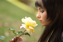 Beautiful girl with rose stock images