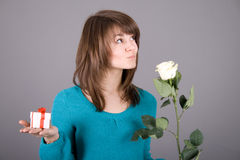 Beautiful girl with rose Royalty Free Stock Image