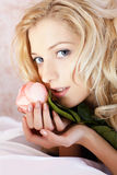 Beautiful girl with rose royalty free stock photography