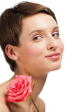 Beautiful girl with rose Royalty Free Stock Images