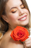 Beautiful girl with rose Stock Image